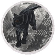 Panther By The Water Round Beach Towel