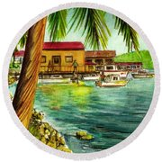 Parguera Fishing Village Puerto Rico Round Beach Towel by Frank Hunter