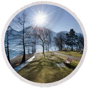 Park On The Lakefront Round Beach Towel
