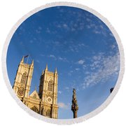Parliment And Clouds Round Beach Towel