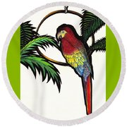 Parrot Shadows Round Beach Towel