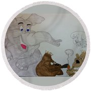 Partying Animals Cartoon Round Beach Towel