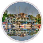Pascagoula Boat Harbor Round Beach Towel