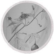 Passionflower Vine Round Beach Towel by Daniel Reed