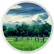 Pastoral Greenery Round Beach Towel