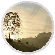 Pasture Sunrise Round Beach Towel