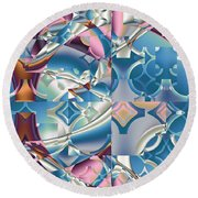 Round Beach Towel featuring the digital art Patchwork Abstract by Mario Carini