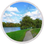 Round Beach Towel featuring the photograph Path by Michael Frank Jr