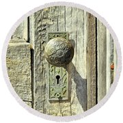 Round Beach Towel featuring the photograph Patina Knob by Fran Riley