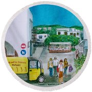 Patmos Fish Monger Round Beach Towel by Frank Hunter