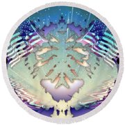 Round Beach Towel featuring the painting Patriotic Reflections by Mario Carini