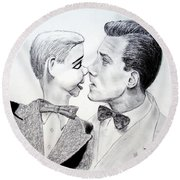 Paul Winchell And Ventriloquist Dummy Jerry Mahoney  Round Beach Towel