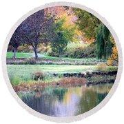 Peaceful Autumn Park Round Beach Towel