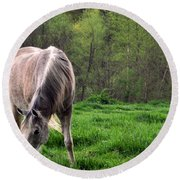 Peaceful Pasture Round Beach Towel by Lydia Holly