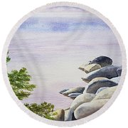 Peaceful Place Morning At The Lake Round Beach Towel