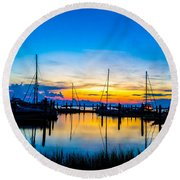 Peacefull Sunset Round Beach Towel