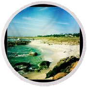 Round Beach Towel featuring the photograph Pebble Beach by Nina Prommer