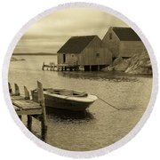 Peggys Cove In Sepia Round Beach Towel by Richard Bryce and Family