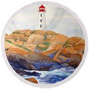 Round Beach Towel featuring the painting Peggy's Cove by Laurel Best