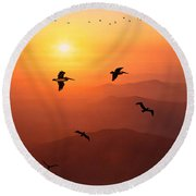 Round Beach Towel featuring the photograph Pelican Migration by Chris Lord