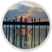 Round Beach Towel featuring the photograph Pelican Resting End Of Day by Dan Friend