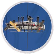 People Riding On Ski Lift At Risoul Round Beach Towel