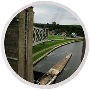 Round Beach Towel featuring the photograph Peterborough Lift Lock by Alyce Taylor