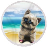 Petey In Coney Island Round Beach Towel