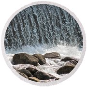 Round Beach Towel featuring the photograph Phelps Mill Dam by Penny Meyers