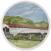 Philippi Covered Bridge  Round Beach Towel