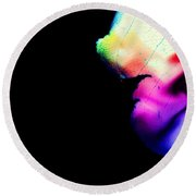 Round Beach Towel featuring the photograph Phycadelic Leaf by Jessica Shelton