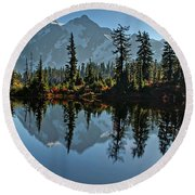 Picture Lake - Heather Meadows Landscape In Autumn Art Prints Round Beach Towel by Valerie Garner