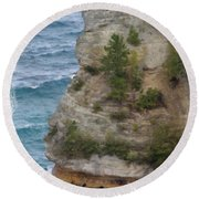 Round Beach Towel featuring the photograph Pictured Rocks In Oil by Deniece Platt