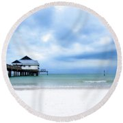 Pier 60 At Clearwater Beach Florida Round Beach Towel