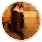 Round Beach Towel featuring the photograph Piety In Motion by Lorraine Devon Wilke