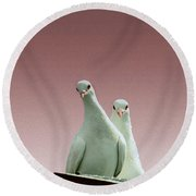 Pigeons In The Pink Round Beach Towel by Linsey Williams