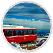 Round Beach Towel featuring the photograph Pikes Peak Railway by Shannon Harrington