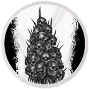 Pile Of Skulls Round Beach Towel
