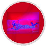Pink And Blue Daydream Round Beach Towel