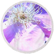 Pink And Blue Flower Round Beach Towel