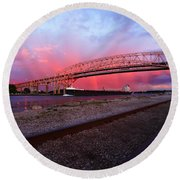 Round Beach Towel featuring the photograph Pink And Blue by Gordon Dean II