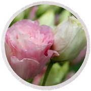 Pink And White Lisianthus Round Beach Towel