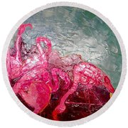 Round Beach Towel featuring the painting Pink Flamingoes by Ana Maria Edulescu