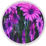 Pink Flower Power Round Beach Towel