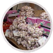 Round Beach Towel featuring the photograph Pink Garlic by Carla Parris