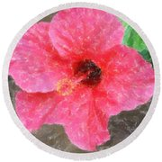 Round Beach Towel featuring the photograph Pink Hibiscus by Donna  Smith