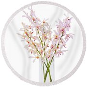 Pink Orchid In Vase Round Beach Towel