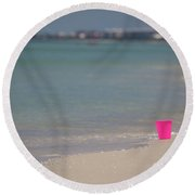Pink Pail Round Beach Towel by Nick  Shirghio