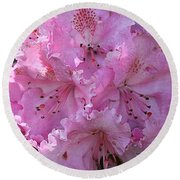 Pink Rhododendrons Round Beach Towel