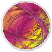 Pink Ribbons Over The Rainbow Round Beach Towel